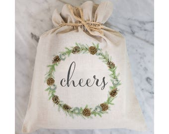 Cheers Gift Bag // Gift Wrap // Packaging Bag // Present // Party Favor // Wedding Favor // Gift Bag // Hostess Gift