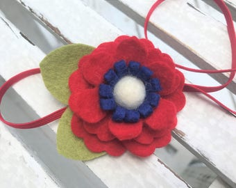 4th of July headband - READY TO SHIP- 16.5 inches - red white and blue bow