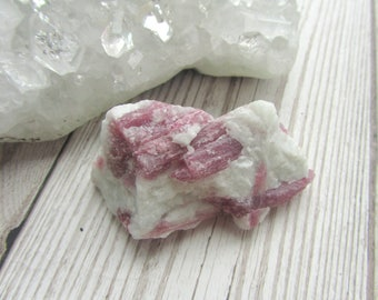 Rubellite (Pink Tourmaline) On Quartz - Raw Gemstone Specimen Natural