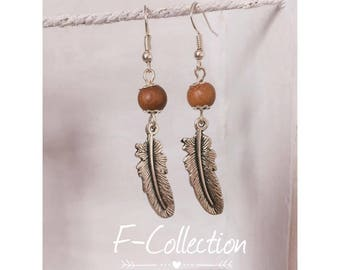 Wood feather Silver earrings