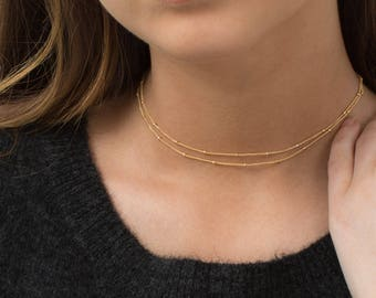 Dew Drop Chain Choker Necklace, 2-in-1 Gold, Silver or Rose Gold WRAP CHAIN choker and Long Necklace / Layered and Long LN801