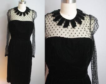1980s does 1950s Dress // Velvet with Fringe Collar // Small