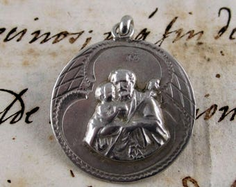 Saint Joseph Art Déco Hand Crafted Medal - Silver 800 - Spain - Catholic Religious