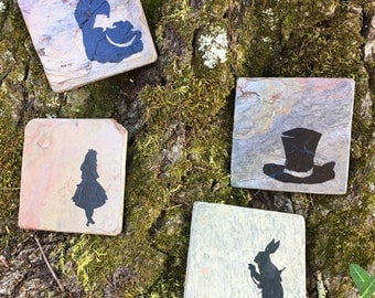 Alice in Wonderland Coasters - Set of 4