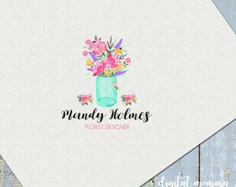 Premade Floral, Mason Jar Logo Design, Shabby Chic, Florist Logo, Floral Logo Design