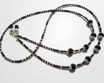 Eyeglass Chain, Eye Glass Chain, Glasses Necklace, Crystal Glasses Strap, Sunglasses Chain, Glasses Chain, Beaded Black Crystals