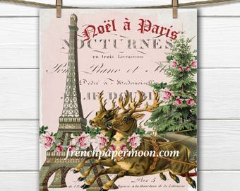 Shabby Christmas reindeer, Christmas in Paris, Christmas Tree Pillow Image, Printable Graphic Transfer Image 0113