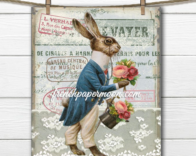 French Vintage Easter Rabbit Large Image Instant Digital Download Printable Antique Style Bunny Graphic Transfer
