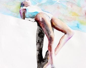Original Watercolor Painting - Life On Mars. Portrait of ballerina. Flying birds.