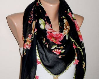 black scarf red flower yellow green  cotton scarf turkish scarf yemeni scarf