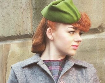 Vintage 1940s inspired military style kiwi green wool felt tilt hat - handmade one of a kind