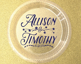 Personalized Plates, Custom Wedding Plates,  Plastic Plates, Cake & Dessert Plates, Appetizer Plates, Shower Plates, Anniversary Plates