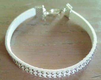 Simple white band and rhinestone silver Ref: BR 240