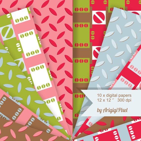 Pink brown digital papers,  green scrapbooking collage sheet, geometric background, seamless pattern, download