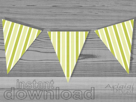Printable Summer Garland - green white vertical stripes - download PDF file