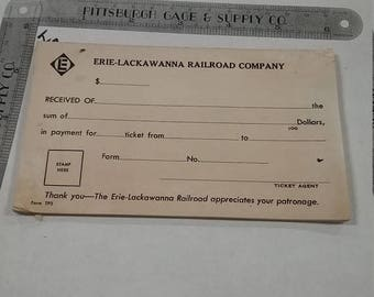 10% OFF 3 day sale Vintage  Erie LACKAWANNA RAILROAD Company Passenger Ticket