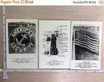 10% OFF 3 day sale Vintage Military Lot Of 3 Naval Training Station Great Lakes Illinois Post Cards 1943 Used