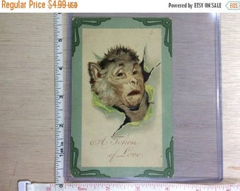 10% OFF 3 day sale Vintage Old Post Card Monkey A Token Of Love Used