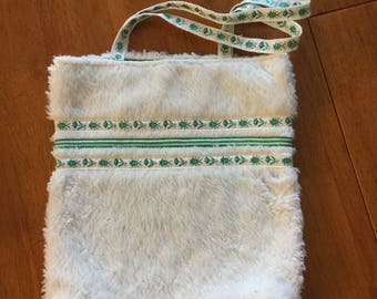 Green and White Trim Bag, Faux White Fur Purse, Green Braid Trim White Faux Fur Bag