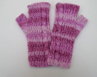 Shades of Pink Fingerless Gloves. Handwarmers. Fingerless Mittens. Hand Knit.