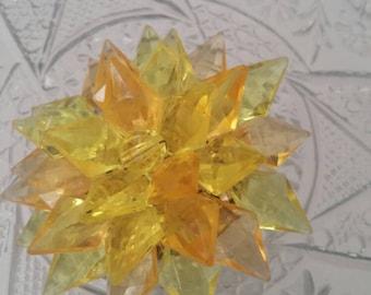 Dimensional Yellow Orange Lucite Flower Pin