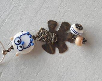 OWL necklace type necklace glass Lampwork, bronze, beige