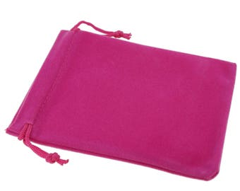 Wholesale Lot of 12 Fuchsia Color Soft Velvet Pouches with Drawstrings for Gift Packaging, 6 Size availables