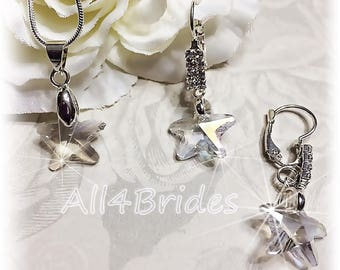 Starfish bridal earrings, starfish bridal necklace.  Weddings bridal starfish crystal earrings and necklace set.