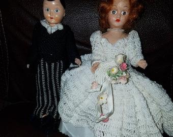 Vintage Crocheted Bride & Groom