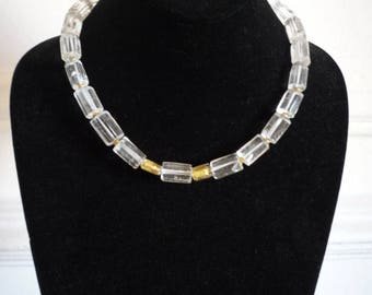 Vintage Clear Gold Murano Glass Crystal Quartz Gold Bead Toggle Necklace