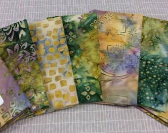 Batik textiles fat 1/8 bundle of 7 fun greens to purple