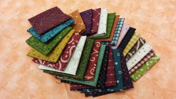 Kim Diehl Quilt Fabric Bundle of 27 Chubby 16th's From The Welcome Wagon Collection Rustic Cotton Prints For Little Quilt Projects