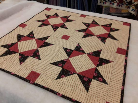 Squared Star Quilt Topper Kit with Kim Diehl Fabrics, Includes fabric for top and binding and pattern