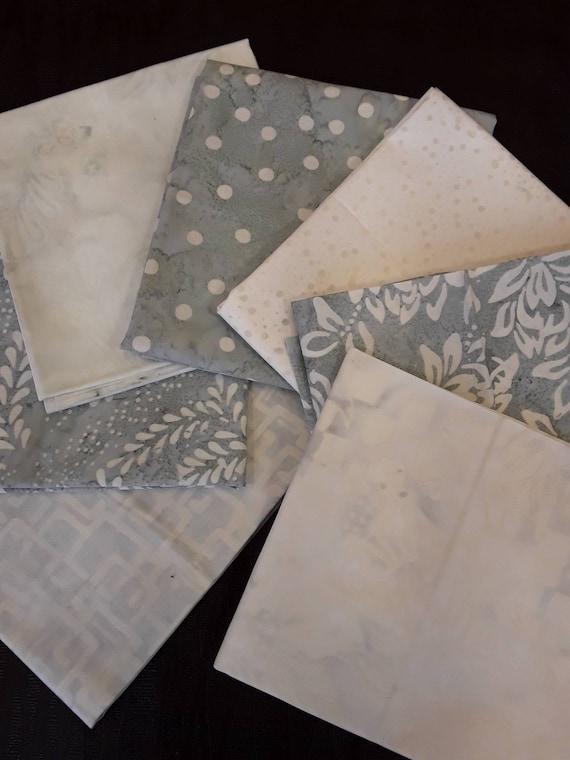Batik Textiles Fat Quarter Bundle of 7 Hand Cut Complimentary Colors. Group 7GW  Soft Grey and White Neutrals. Floral Modern Designs