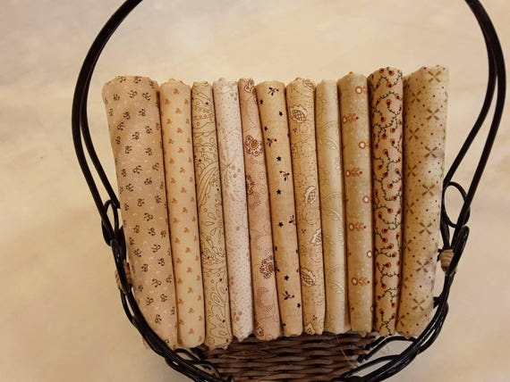 Kim Diehl Quilt Fabric Bundle of Half Yards Hand Cut From 11 Butter Churn Basic Creamy Neutrals For Homestyle Patchwork Quilting Group B