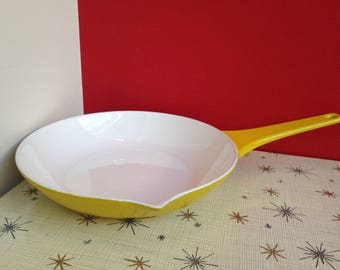 "Danish Copco '60s Yellow Enameled Cast Iron 8.5"" Skillet by Michael Lax"