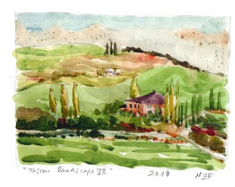 Original Tuscan landscape art print tuscan home decor tuscany painting tuscan decor original wall art italy art tuscan art