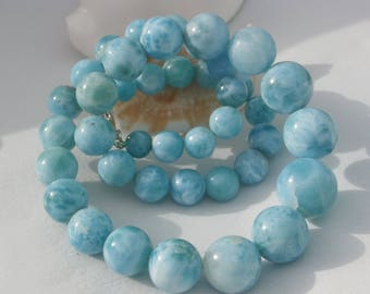 Larimar Round Beads Necklace, Handcrafted , Closing In Sterling Silver 925, Larimar Beads
