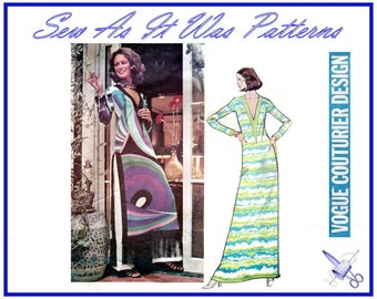 "1970s Vogue Couturier Design 2713 Pucci Maxi Lounge Dress Tunic Top Fringed Hem Flared Pants Vintage Sewing Pattern Size 16 Bust 38"" 102cm"
