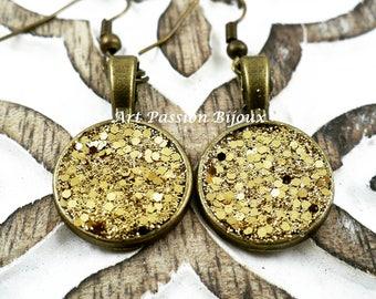 Gold glitter earrings, druzy gemstone effect, sparkle jewelry, bronze tone earrings, handmade, 15% off shipping