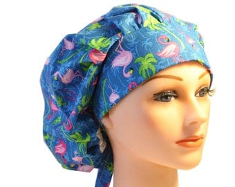 Scrub Cap Surgical Hat Chef   Dentist Hat Tie Back Bouffant Pink Blue Flamingos  2nd Item Ships FREE