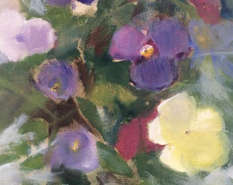 "Oil on panel, original painting, 7""x 5"" small painting, ""Pansies"" by Debi Hinshaw, DLHpaintings"