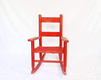 Child's Rocking Chair, Wooden Chair, Vintage Wood Chair, Red  Painted Chair, Children's Rocker, Wooden Child's Chair, Doll Display, Nursery
