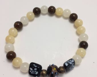 Earthtone Glass Bead and Lampwork Stretch Bracelet