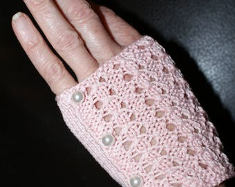 Fingerless gloves women, short, Egyptian rose beads