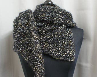 Shawl / scarf black, pure silk and mohair wool and lurex