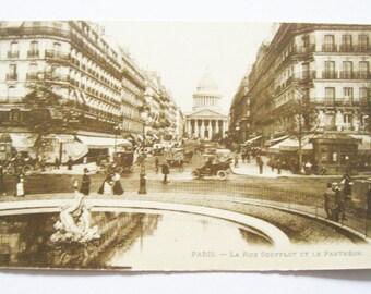 Antique French Postcard Sepia Very Old @1910 Scenic Souvenir Paris- La Rue Soufflot et Le Pantheon Antique Cars Autos Paper Ephemera Unused