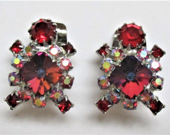 Ruby Red Earrings Cluster Rhinestone Clip On Earrings Bridal Evening Wear Crystal Earrings Bridesmaid Jewelry Vintage Clip On Ruby Red