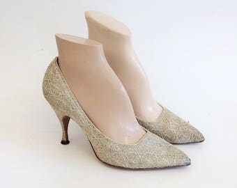 50s Sparkling SPIDERWEB Heels / 1950s Vintage Silver Pin Up Pumps / Size 6.5
