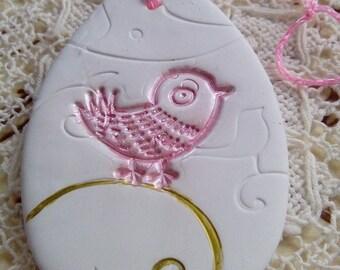 Egg shaped easter decoration, bird decoration, hanging egg ornament, home decor, white, pink, gold, handmade easter gift, spring